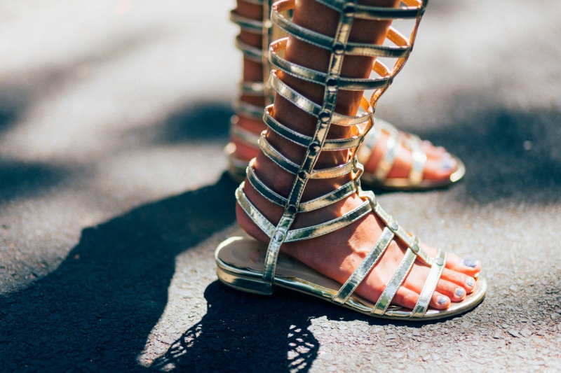 Gladiator Sandals Gold Woman's Feet