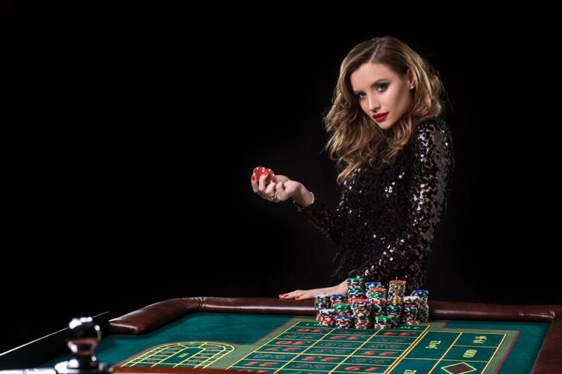 Glamorous Woman Black Sequin Dress Chips Roulette