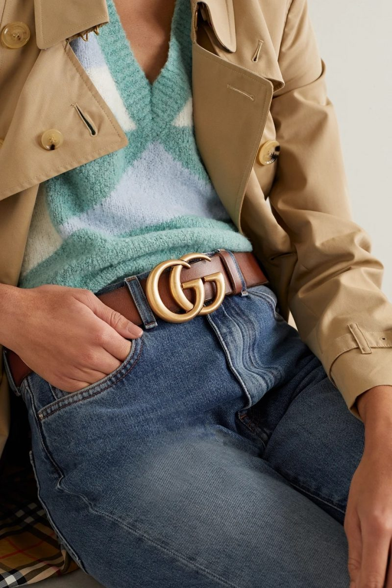Gucci Brown Leather Double G Belt $490