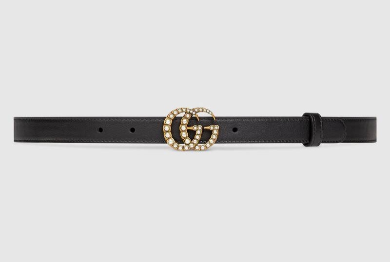 Gucci Leather Belt with Pearl Double G Buckle $460