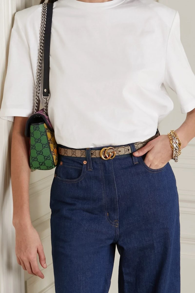 Gucci Reversible Printed Coated-Canvas Leather Belt $490