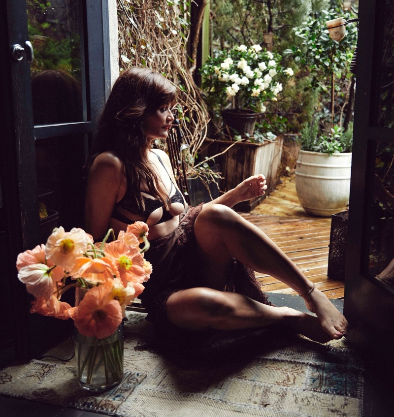 Posing at home, supermodel Helena Christensen appears in Coco de Mer Icons campaign.