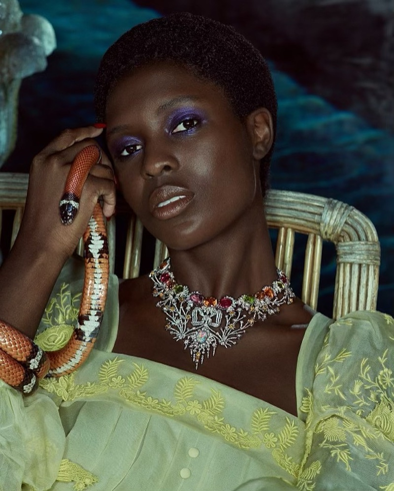 Actress Jodie Turner-Smith poses in Gucci  Hortus Deliciarum High Jewelry campaign.
