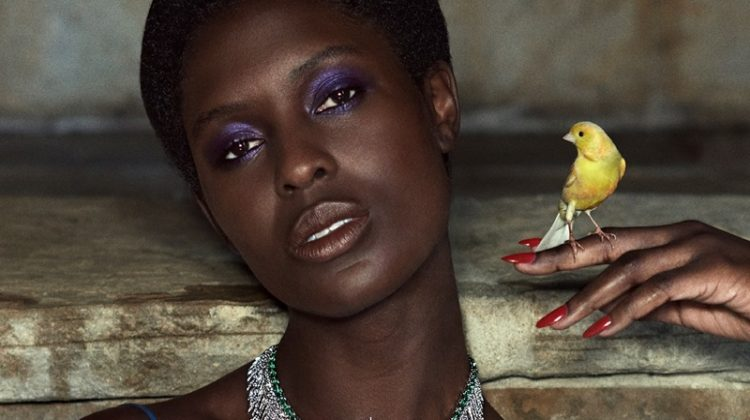 Posing with a bird, Jodie Turner-Smith shines in Gucci Hortus Deliciarum High Jewelry campaign.