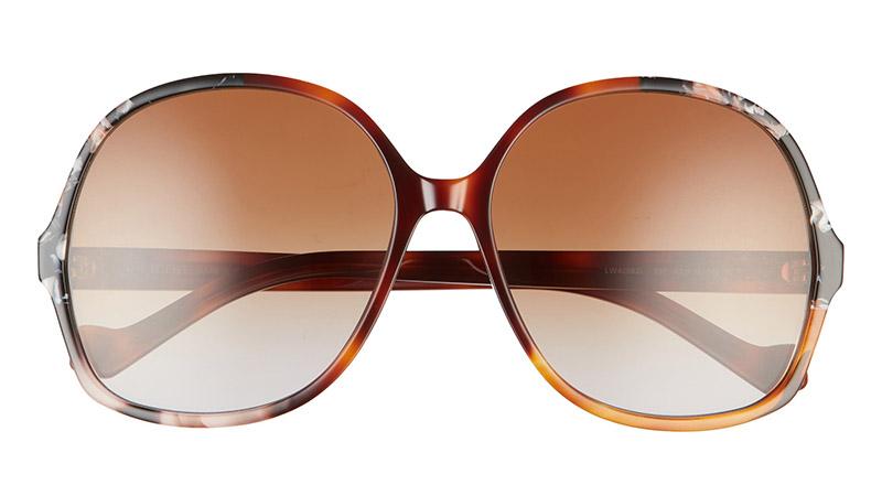 LOEWE Gradient Round Sunglasses in Light Havana and Brown/Grey Lenses $330