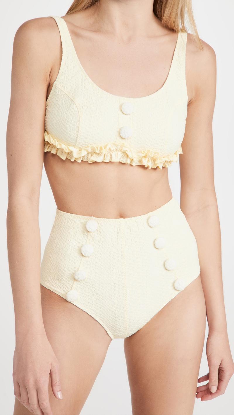 Lisa Marie Fernandez Colby High Waist Button Bikini Set $395