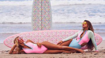 Haley, Leoo, Linnea Go Surfing in LoveShackFancy x Hurley's Swim Collab