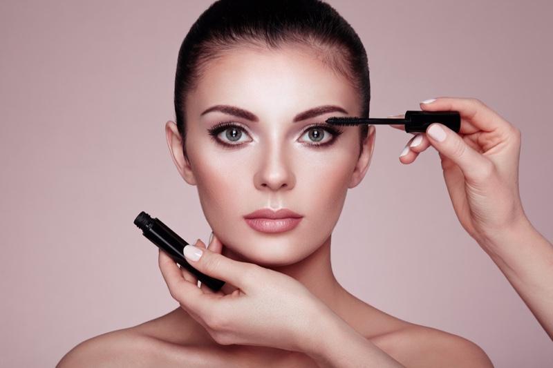 Makeup Artist Applying Mascara Model Beauty