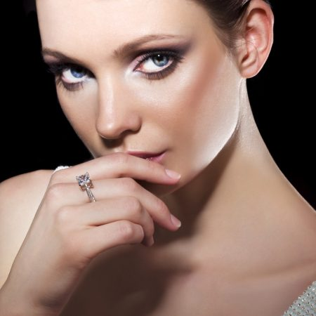 Model Beauty Wearing Diamond Ring