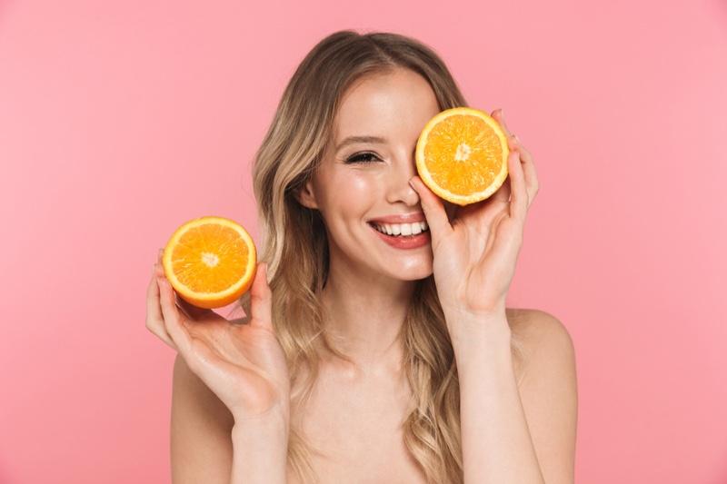 Model Posing Oranges Vitamin C Concept Health Beauty