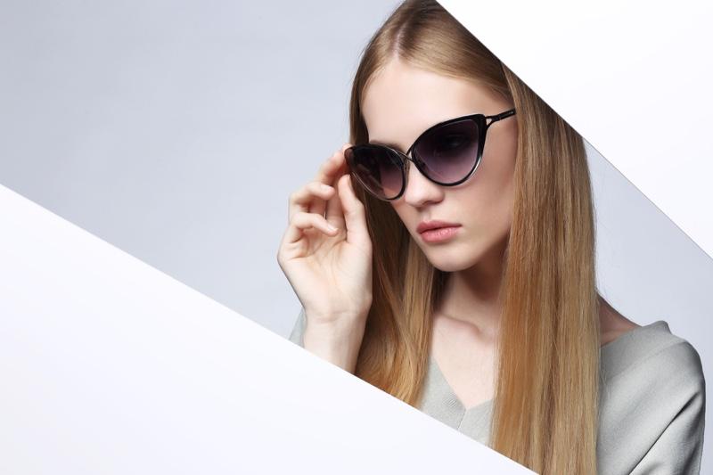 Model Wearing Cat Eye Sunglasses Fashion