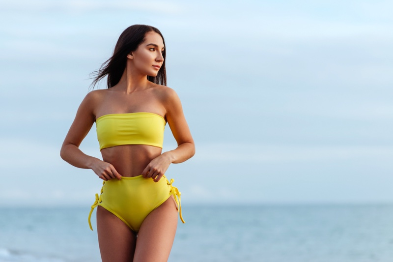 Model Yellow Bandeau Two Piece Bikini High Waist Bottoms