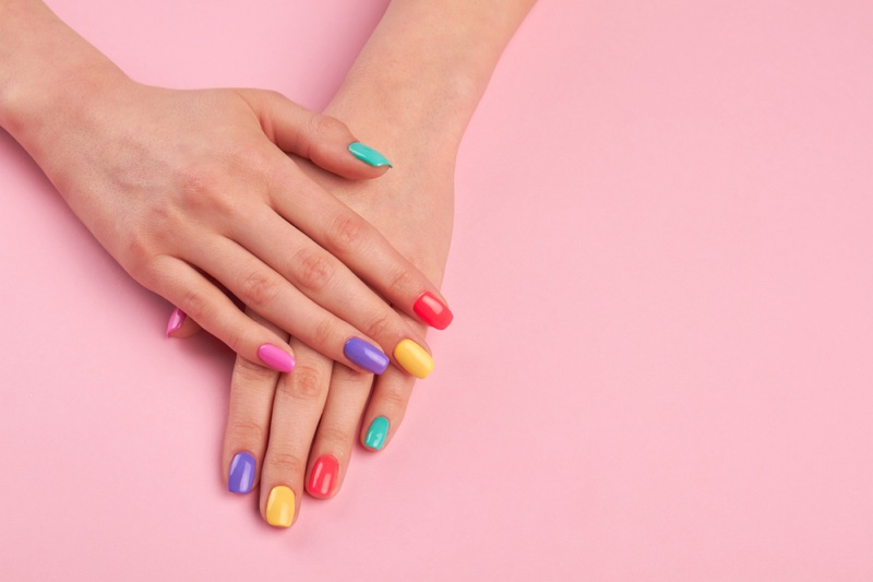 Multicolored Pastel Nails Manicure Hands