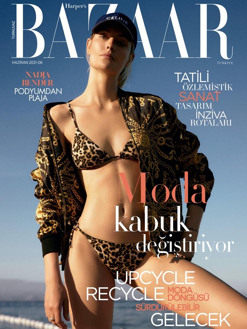 Nadja Bender Embraces Casual Swim Styles for Harper's Bazaar Turkey