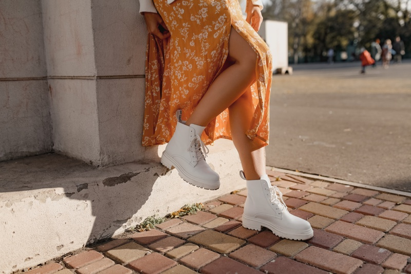 Orange Floral Print Skirt White Combat Boots Legs Cropped
