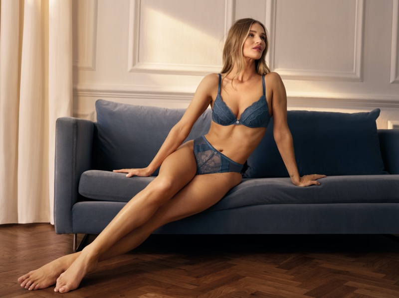 Rosie Huntington-Whiteley lounges in her Marks & Spencer lingerie collaboration.