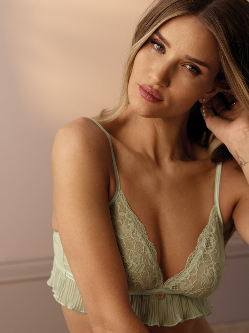 Ready for her closeup, Rosie Huntington-Whiteley wears green bralette from Rosie for Marks & Spencer line.