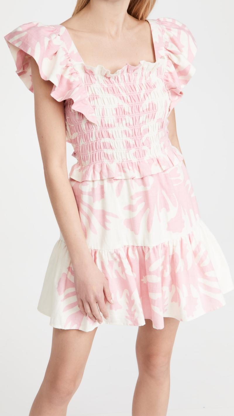 Sea Henrietta Print Short Sleeve Smocked Dress $375