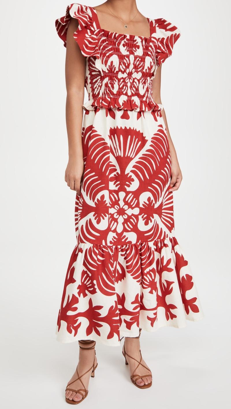 Sea Henrietta Print Smocked Dress $395