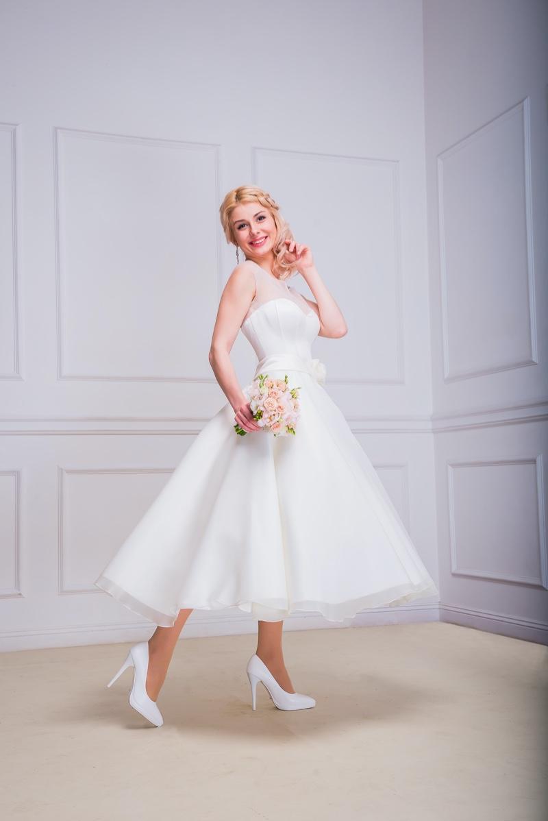 Smiling Bride Tea Length Wedding Dress
