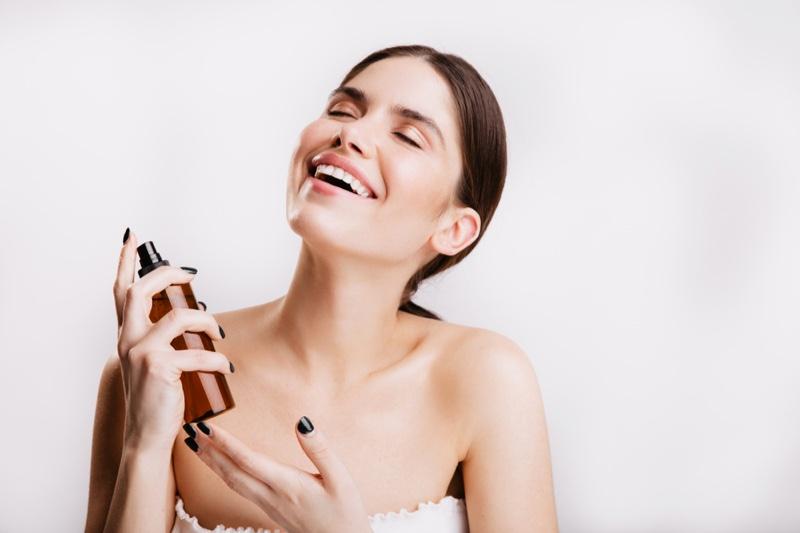 Smiling Model Face Mist Beauty Skincare