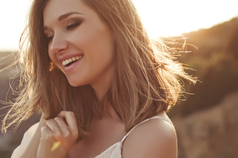 Smiling Woman Outdoors Healthy Beauty