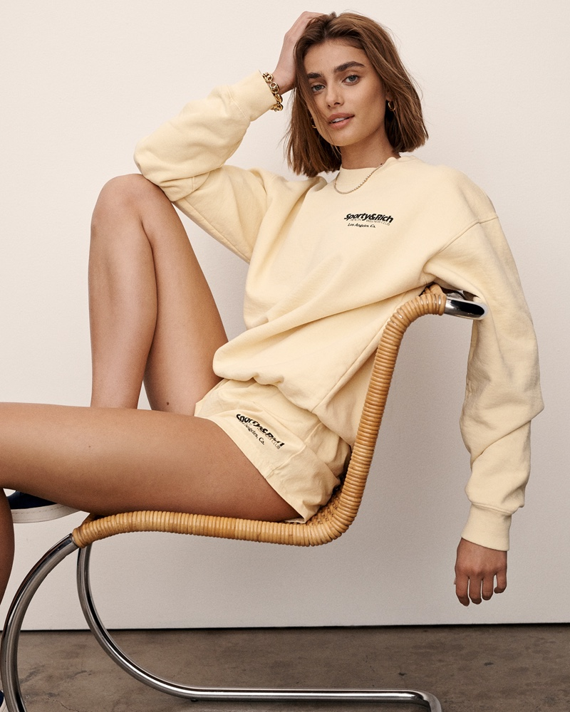 Taylor Hill poses for Sporty & Rich summer 2021 campaign.