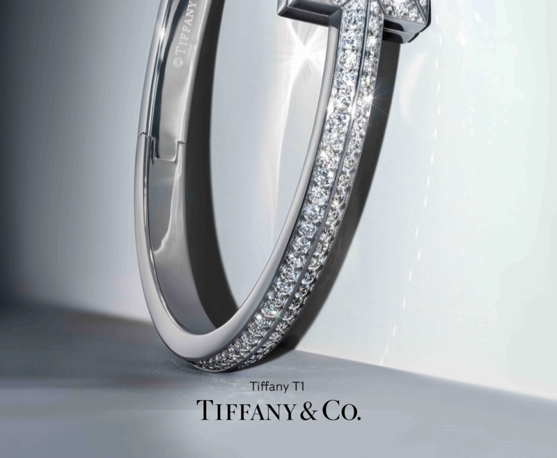 Tiffany & Co T1 Tiffany campaign with hinged bangle in 18k white gold with diamonds, wide.