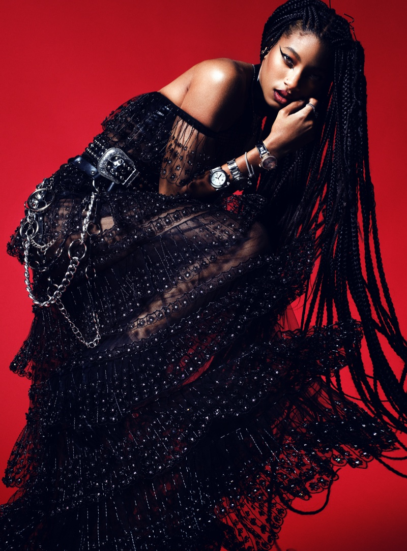 Willow Smith wears rock and roll style for the fashion shoot.