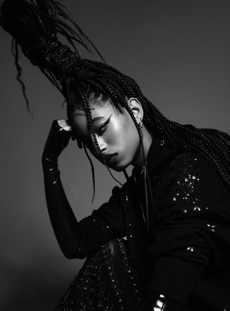 Willow Smith poses in black and white portrait.