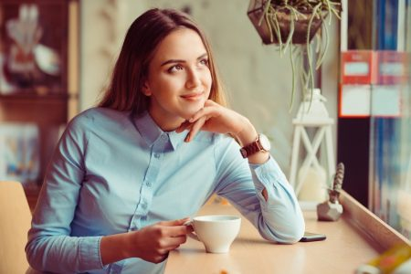 Woman Blue Button-up Shirt Cup Coffee Tee Espresso