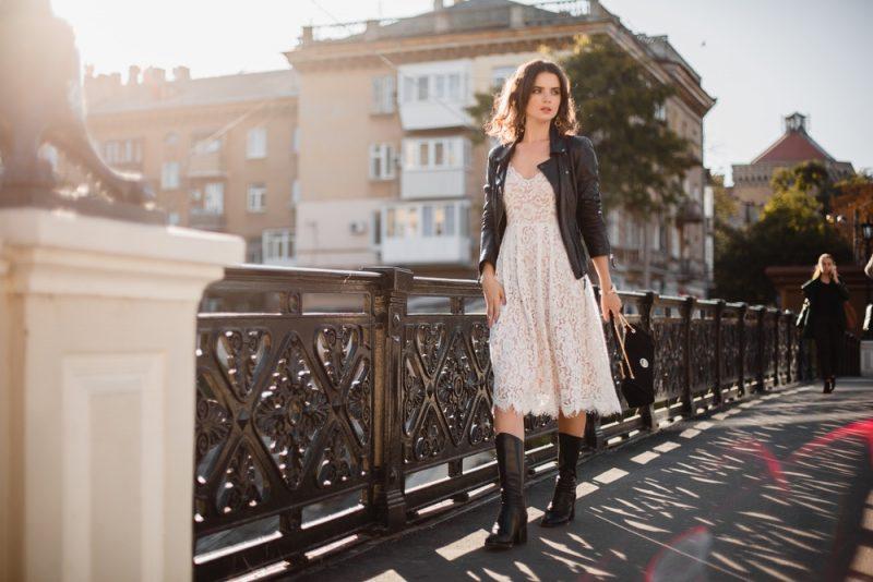 Woman Lace Dress Leather Jacket