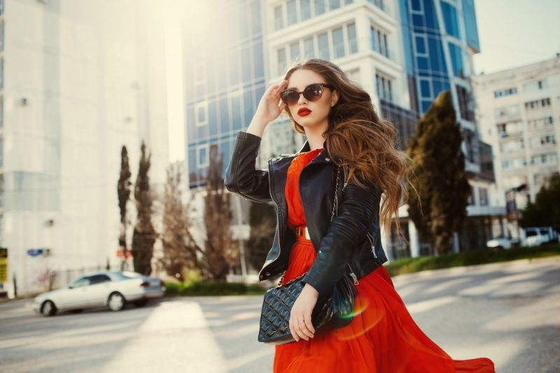 Woman Leather Jacket Red Dress