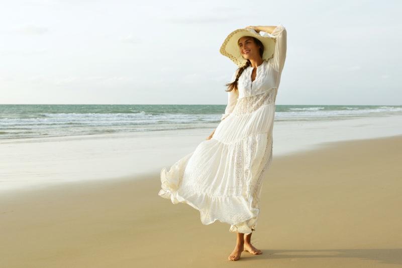 Woman Long White Dress Beach Sun Hat Summer