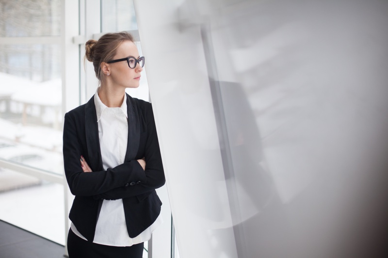 Woman Office Suit Jacket White Shirt Standing Wall