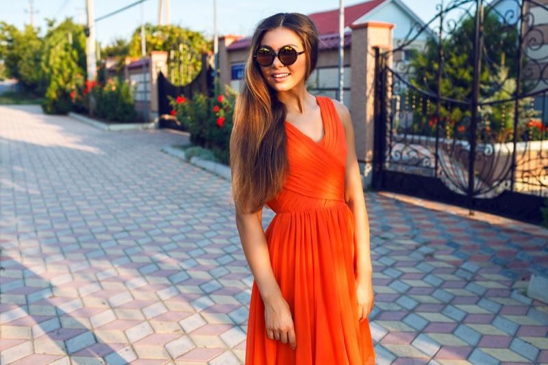 Woman Orange Dress Summer Sunglasses