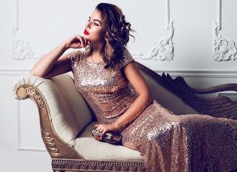 Woman Sequin Dress Clutch Bag Elegance