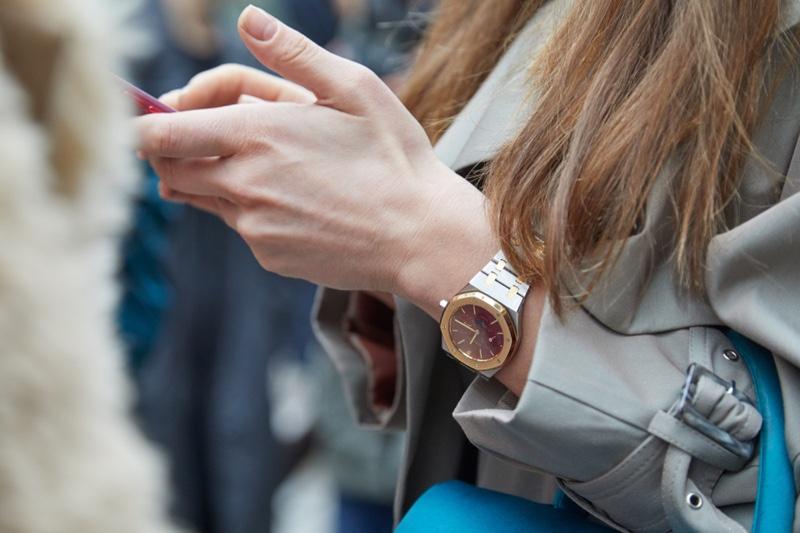 Woman Wearing Audemars Piguet Royal Oak Watch Cropped