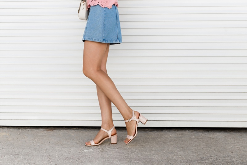 Woman Wearing Block Heel Sandals Denim Mini Skirt Legs Cropped