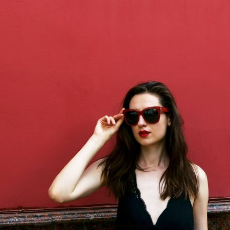 Woman Wearing Red Sunglasses