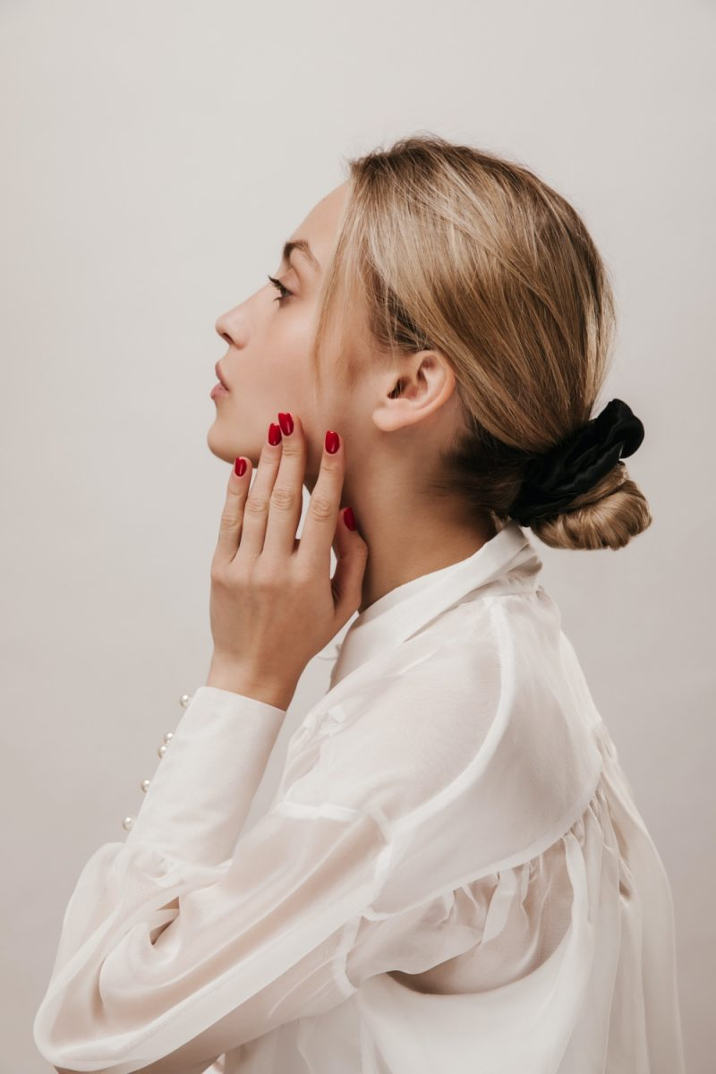 Woman Wearing Scrunchie