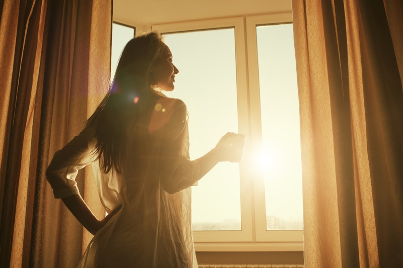 Woman Window Curtains Sunlight