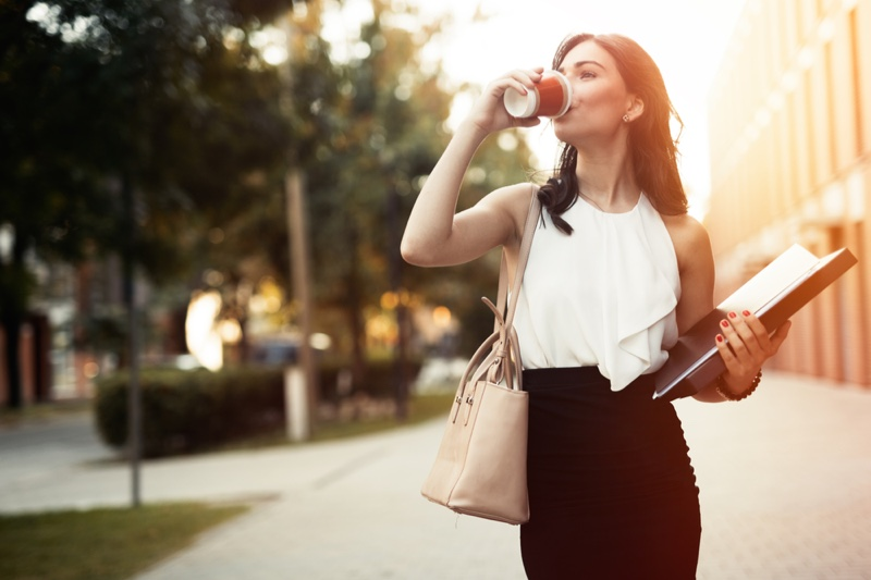 Working Woman Drinking Coffee White Shirt Black Skirt