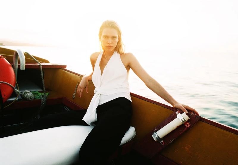 Zara Linen Blend Top and Jacquard Pants.