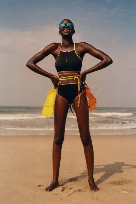 Zara Cross Strap Bikini Top and High-Waisted Bikini Bottoms with Piping.