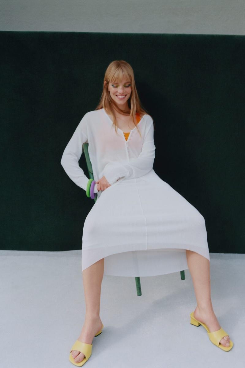 Zara Limited Edition Semi-Sheer Knit Blouse and Long Knit Skirt.