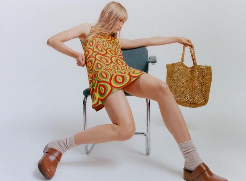 Rebecca Leigh Longendyke poses in Zara Jacquard Knit Dress.
