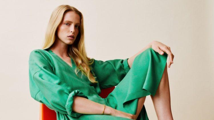 Model Abby Champion wears Massimo Dutti Flowing Wrap Dress.