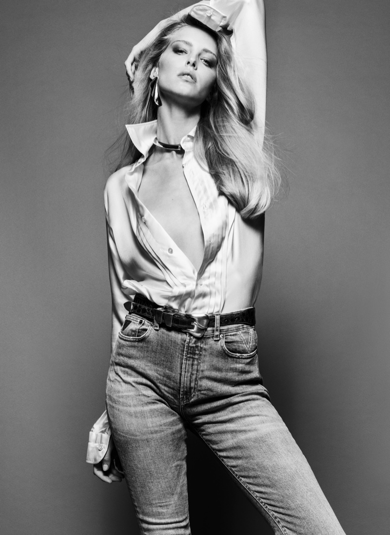 Abby Champion wears jeans from Lois Jeans + V Denim. Image: Courtesy of V Magazine / Inez & Vinoodh