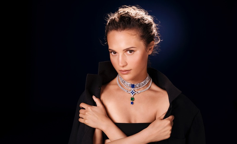 Actress Alicia Vikander poses for Louis Vuitton's first high jewelry campaign.